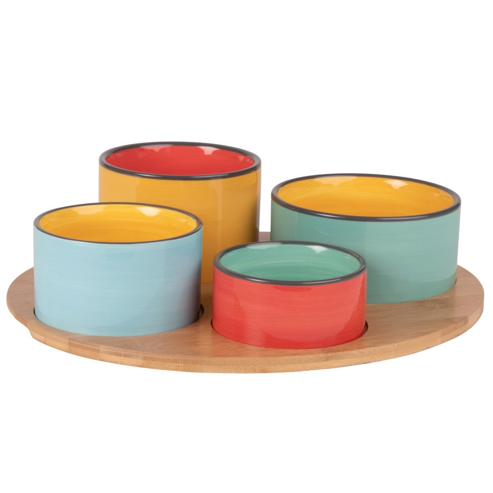 Bamboo-Snack-Tray-with-4-Small-Earthenware-Bowls-in-Bright-Colours_25965577311