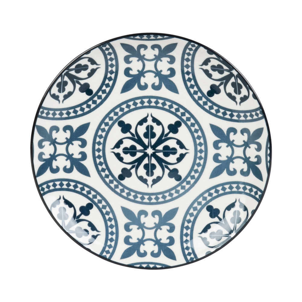 Blue-and-White-Earthenware-Dessert-Plate-with-Graphic-Motifs_28091767721