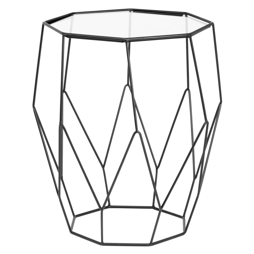 Octagonal-Black-Metal-and-Glass-Side-Table_27547375981