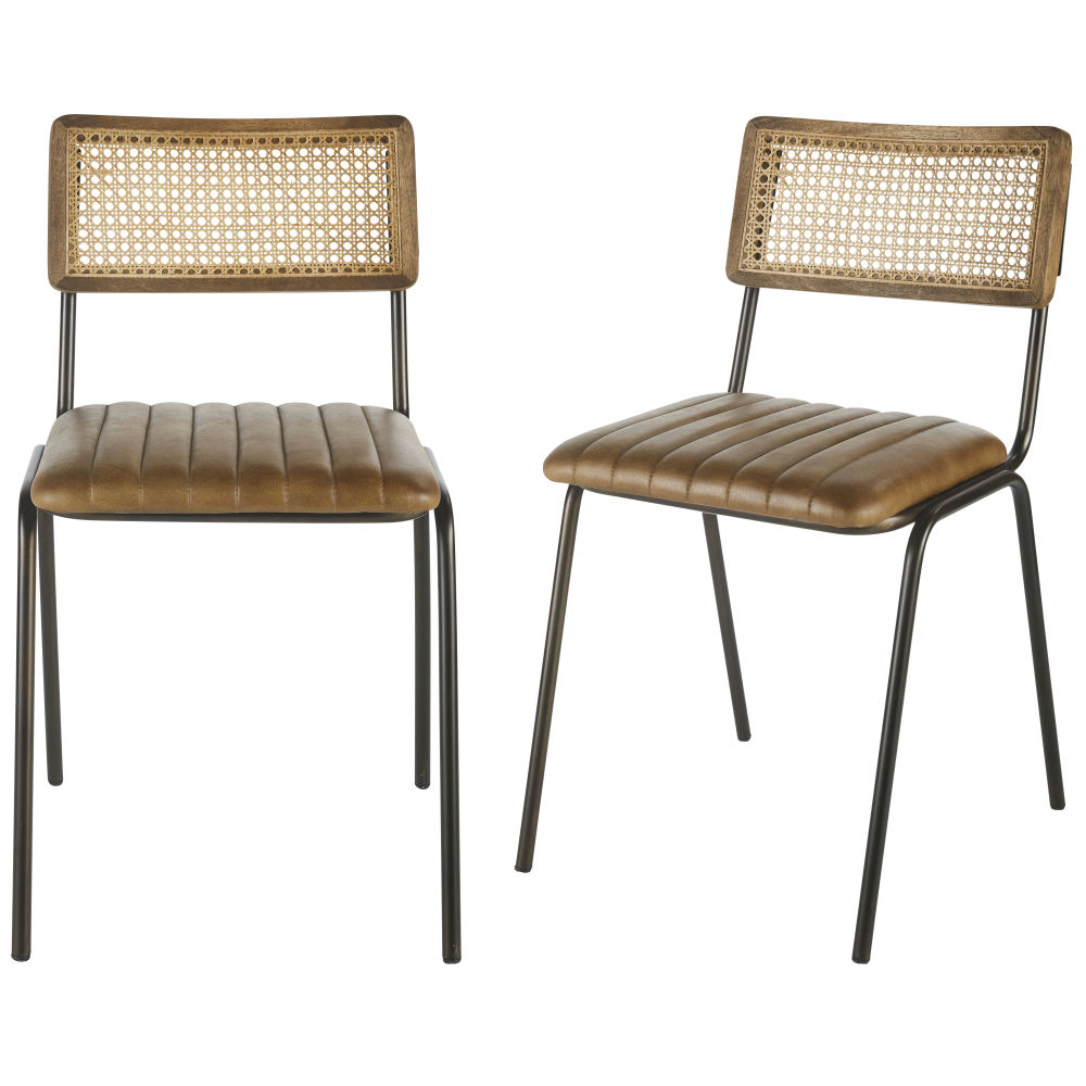 Professional-Brown-Buffalo-Hide-Rattan-Canework-and-Black-Metal-Chairs-x2_28224540047