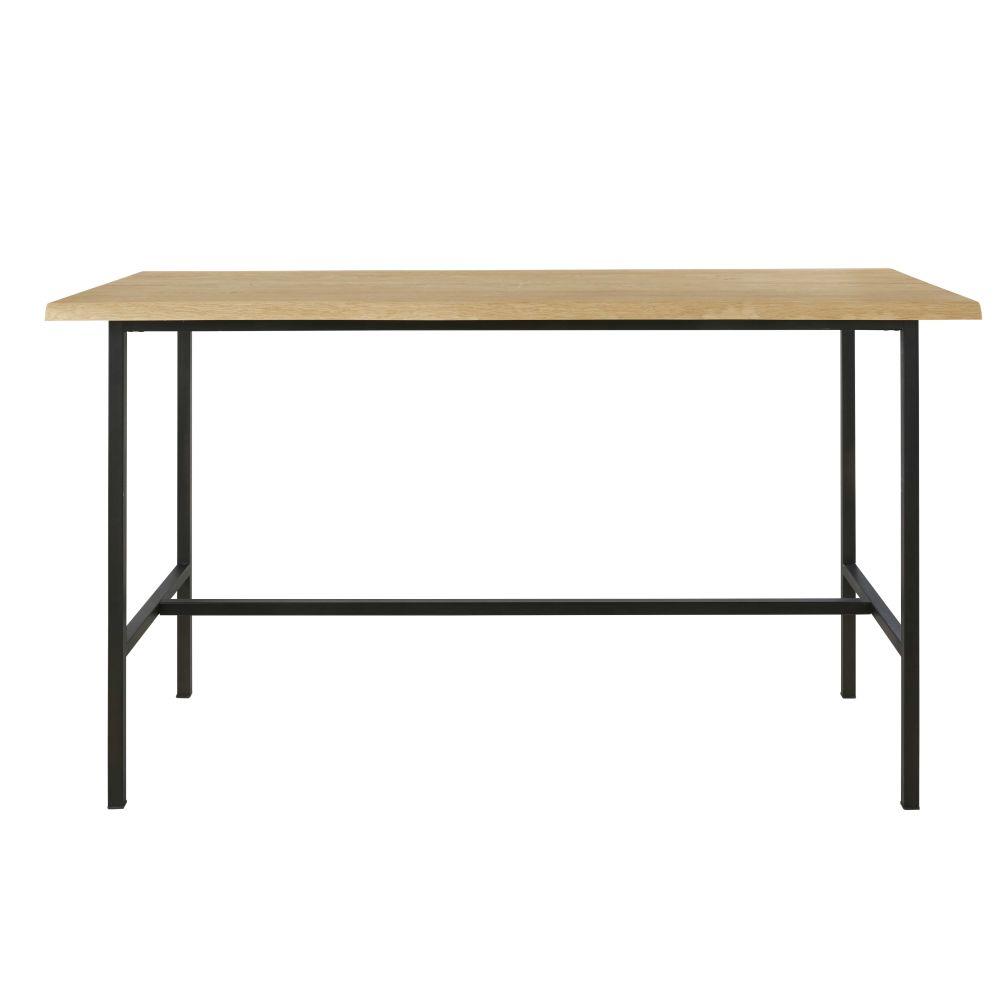 Professional-Oak-and-Black-Metal-High-Dining-Table-L175_26634239773