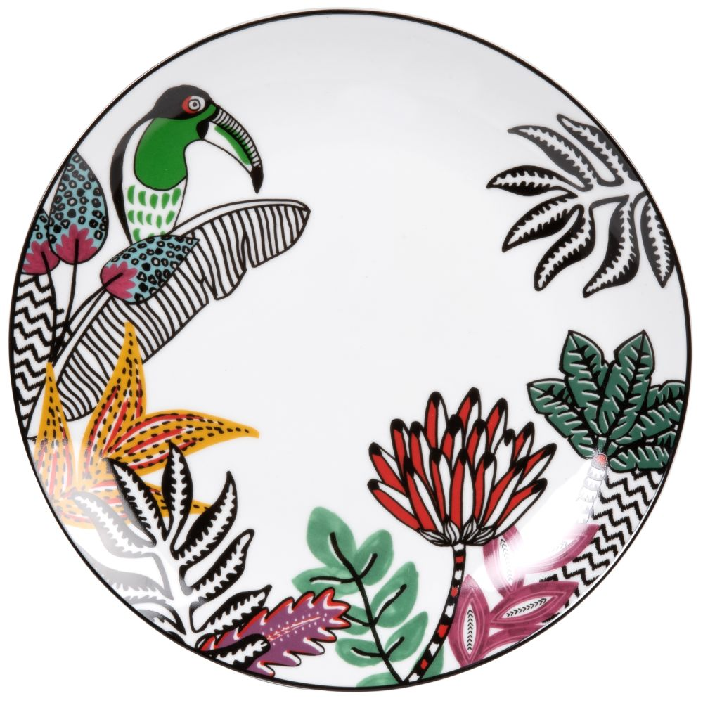 White-Porcelain-Dinner-Plate-with-Multicoloured-Toucan-and-Tropical-Print_27070855635