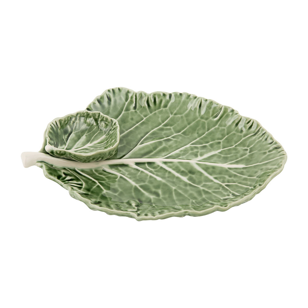 cabbage-leaf-dish-with-dip-bowl-28cm-126597